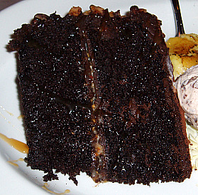 piece of rich chocolate cake