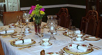 table set for crowd