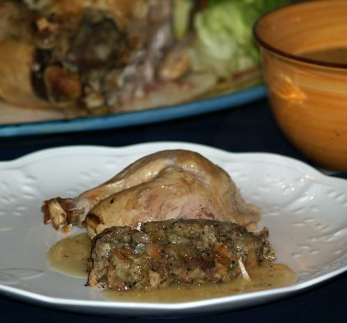 roast chicken stuffed with a mushroom stuffing