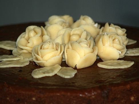 Roses and Leaves made from Almond Paste