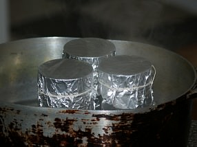 Place Tin Cans in Heavy Pan