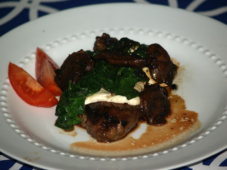 Brie and Spinach Filet Mignon