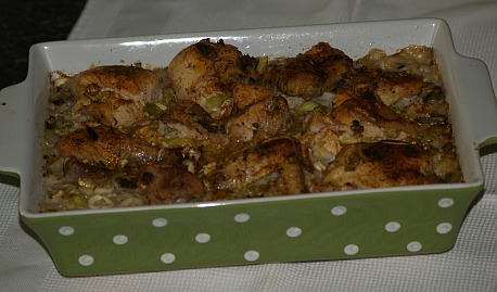 Chicken and Rice Recipe Baked in a Casserole Dish