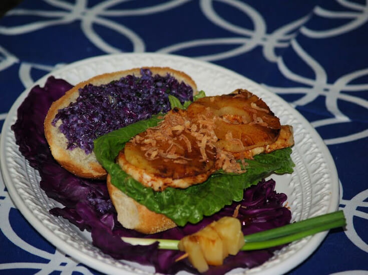Broiled Chicken Breast Sandwich with Red Cabbage Slaw