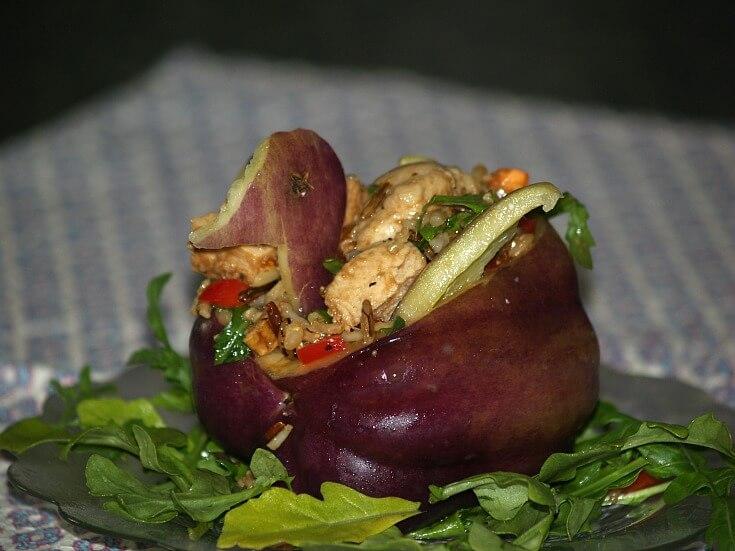 Chicken Rice Oriental Salad Stuffed in a Purple Bell Pepper Duck