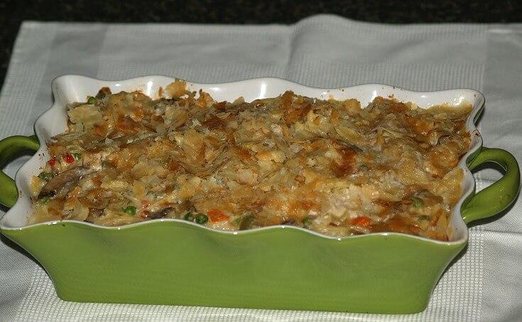 Chicken Tetrazzini Recipe made in a Baking Dish