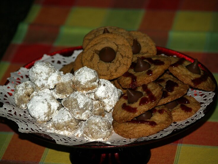 A Tray of Several Chocolate Kiss Cookies