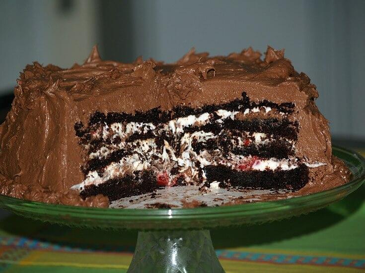 Mocha and Cherry Chocolate Layer Cake