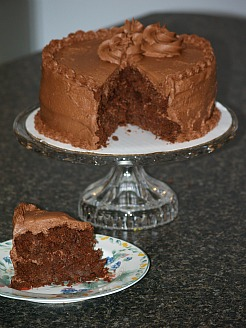 chocolate layer cake with a milky chocolate frosting