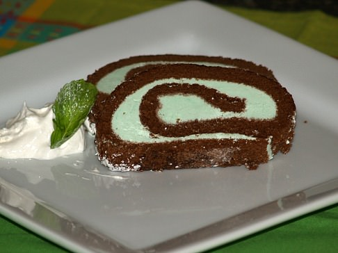 Chocolate Mint Roll Cake