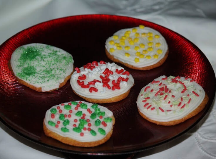 Classic Refrigerator Sugar Cookie Dough Baked Round and Decorated