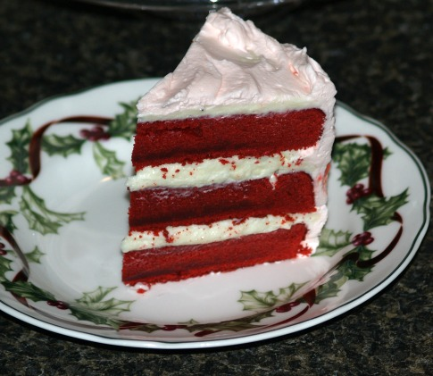 peppermint red velvet cake with a mousse filling and a peppermint cream frosting
