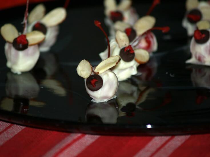 Christmas Mice White Chocolate Covered Cherry Recipe