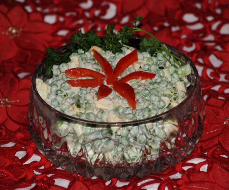 Pea Salad for a Christmas Salad Recipe