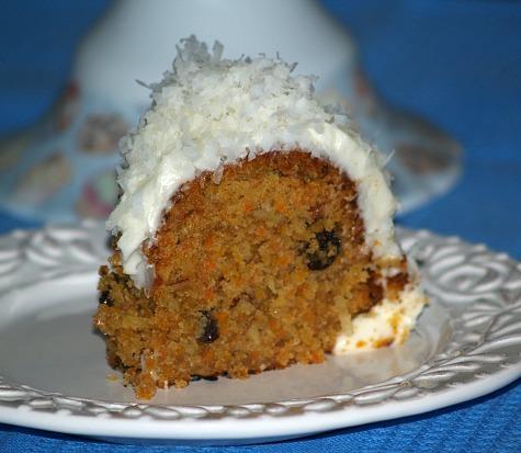 Piece of Coconut Almond Carrot Cake Recipe