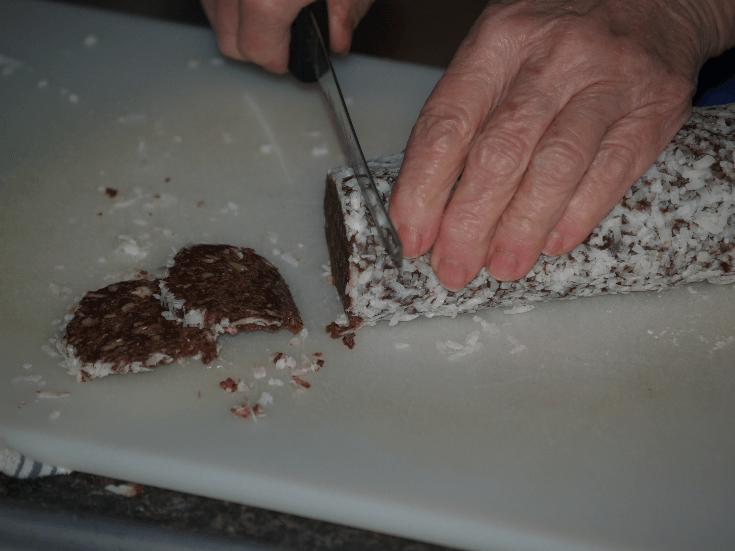 Slicing Coconut Chocolate Pecan Crisps