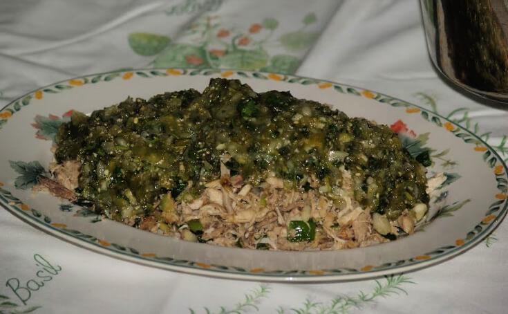 Shredded Chicken in Cilantro Sauce