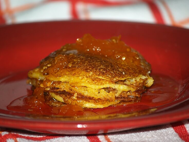 Cornmeal Pancakes Served with Tomato Preserves