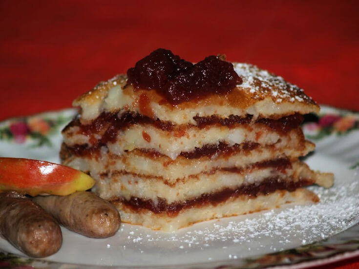 Cranberry Apple Stack Pancakes Cut in Wedge