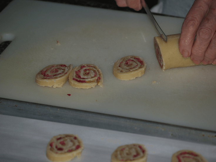 Slicing Cranberry Nut Swirls