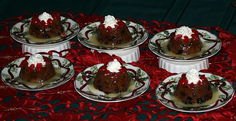 Cranberry Pudding with a Vanilla Cream Sauce