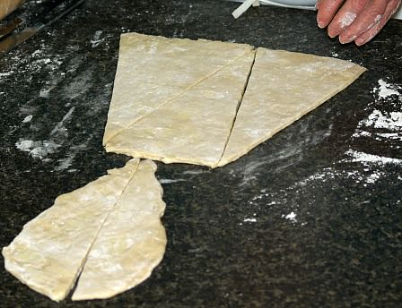 Cut Croissant Dough to Roll