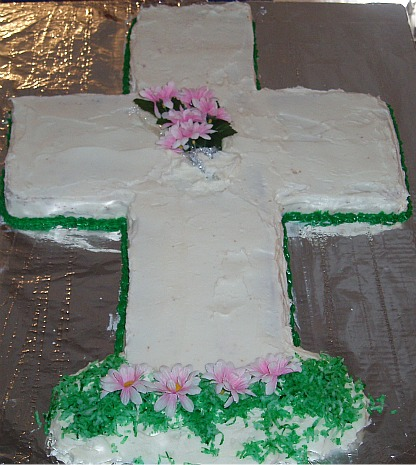 Large Cross Cake to Celebrate the Easter Resurrection