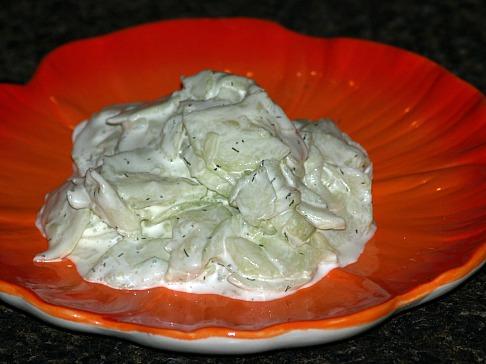 Cucumber Onion Salad with a Yogurt Dressing