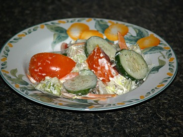 cucumber tomato salad with ice berg lettuce