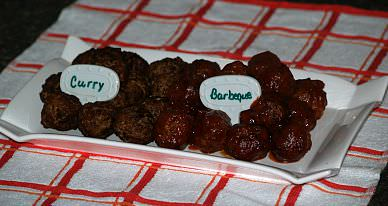 Curry Meatballs and Barbeque Meatballs