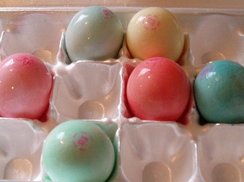 Colored uncooked Eggs