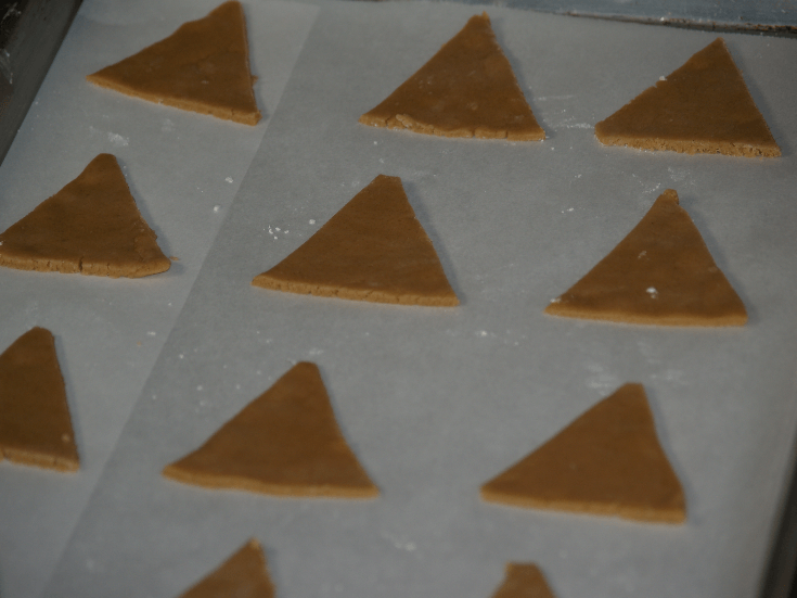 Triangles Cut Out and Ready to Bake