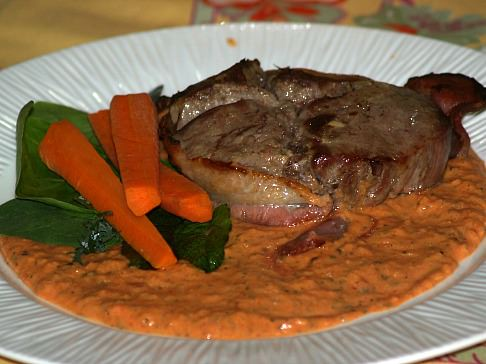 Filet Mignon Served with a Tomato Cream Sauce