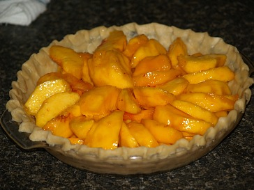 Arrange Peaches on the Bottom of a Pastry Lined Pie Plate