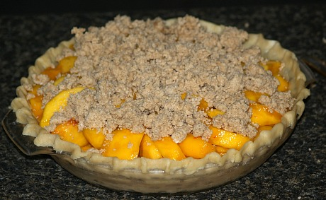 Peach Crumb Pie Ready for Oven