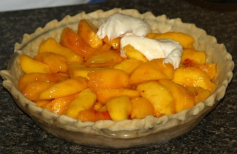 Spread Cream Cheese Mixture Over Fresh Peaches