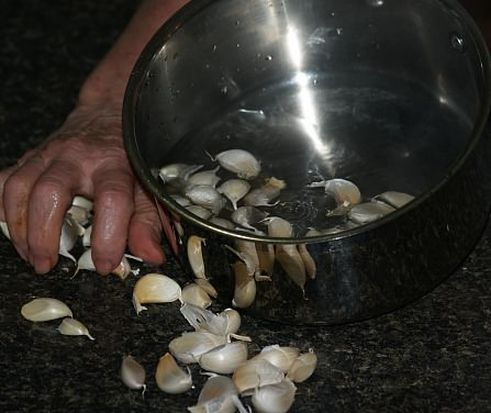 Placing Garlic in Boiling Water
