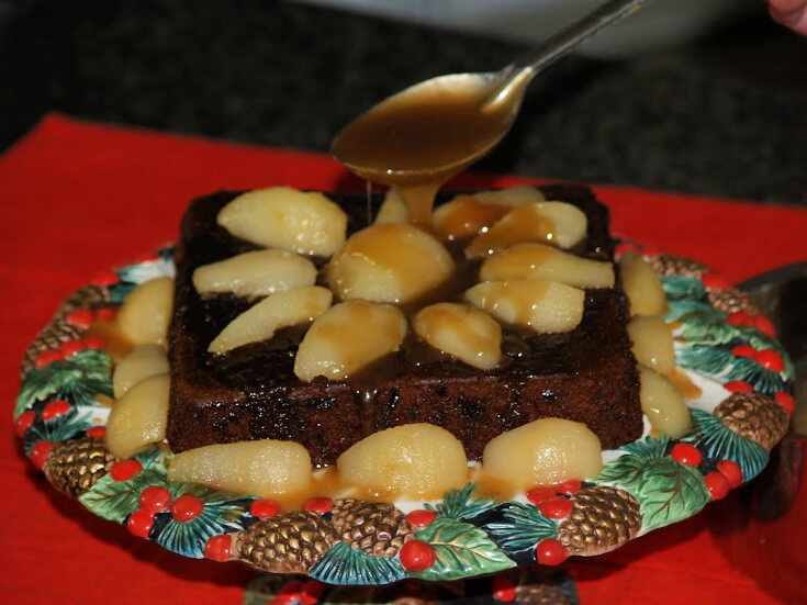 Gingerbread Recipe Served with a Butterscotch Pear Sauce