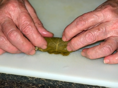 Step Four Stuffing Grape Leaf