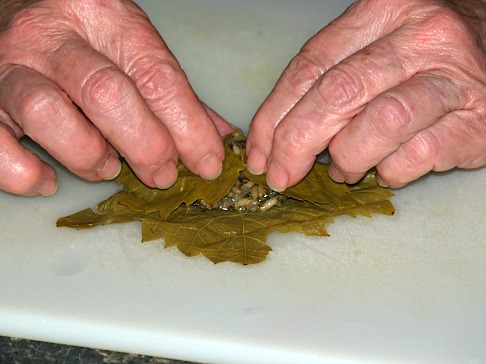 Step Two Stuffing Grape Leaf