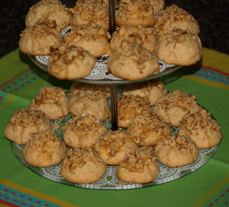Greek Honey Walnut Balls Tiered
