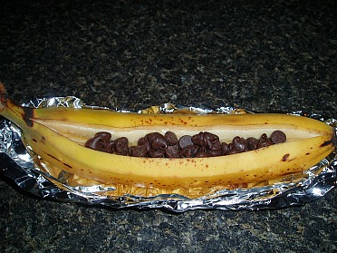 Fill Banana with Chocolate Chips