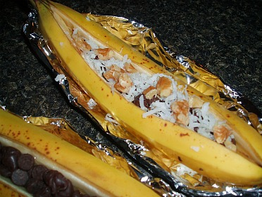 Fill Banana with Chocolate Chips, Coconut or Nuts