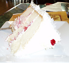 White Cake with Raspberry Filling