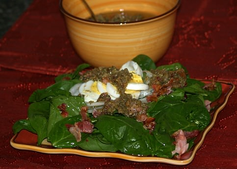 Hot Bacon Salad Dressing for Spinach