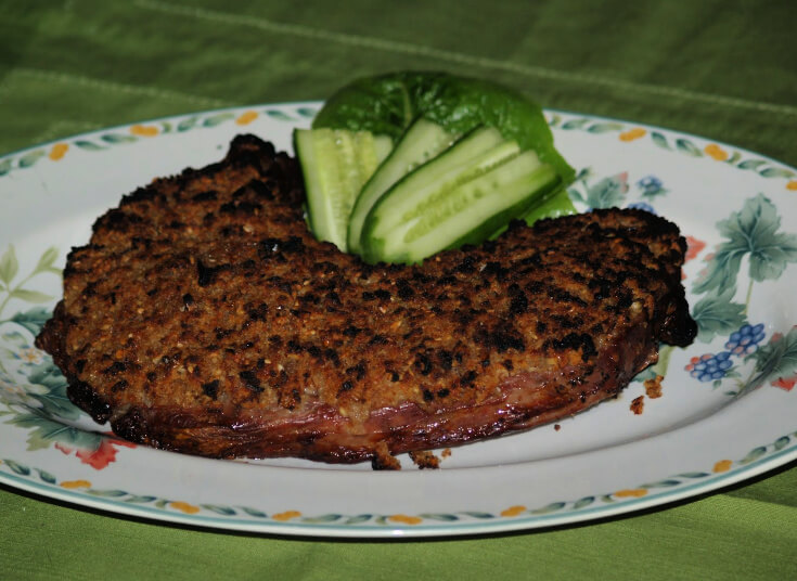 Broiled Sirloin Steaks with an Elephant Garlic Crust