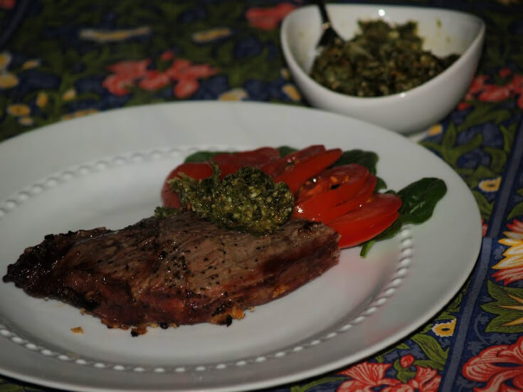 Sirloin Steak Recipe with a Thyme Pesto Sauce