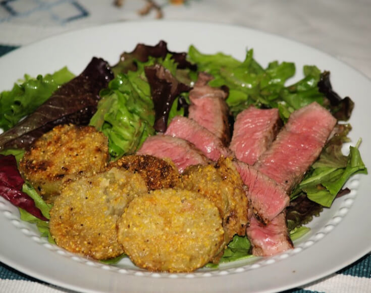 Steak Salad with Fried Green Tomatillos
