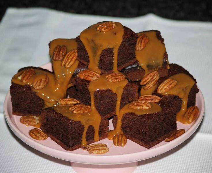 Brownie Cake Squares with Caramel Pecan Sauce