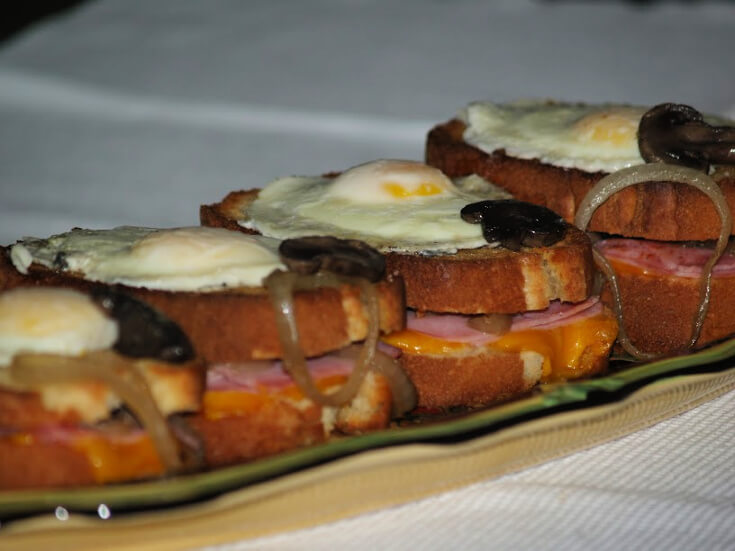 Ham and Cheese and Egg Open Face Sandwich